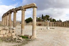Plaza ovale dans la ville antique du jerash Images stock