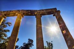 Plaza ovale Roman City Jerash Jordan antique de Sun de colonnes ioniques Images stock
