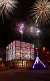 PLAZA - PLZEŇ. Fireworks at the Plaza shopping center in Plzen - Czech Republic Stock Photo