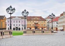Plaza principal de la ciudad vieja de Timisoara, Rumania foto de archivo libre de regalías