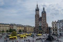 Plaza principal de la ciudad vieja en Kraków Imagen de archivo libre de regalías