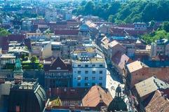 Plaza principal de Zagreb y visión aérea imágenes de archivo libres de regalías