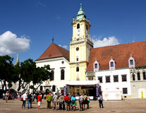 Plaza principal en Bratislava (Eslovaquia) Foto de archivo libre de regalías