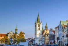 Plaza principal en Litomerice, República Checa Foto de archivo