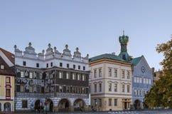 Plaza principal en Litomerice, República Checa foto de archivo libre de regalías