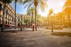 Plaza Real in Barcelona. Plaza Real Royal Square on a summer day, Barcelona, Spain Stock Image