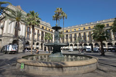 Plaza real, Barcelona, Spain Stock Photos
