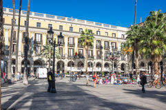 The Plaza Real in Barcelona. BARCELONA, SPAIN - OCTOBER 23, 2015: The Plaza Real is one of the most famous squares of the city Barcelona, Spain. It is located in Stock Images