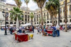 Plaza Real in Barcelona Spain, stamp and coin collection Stock Image