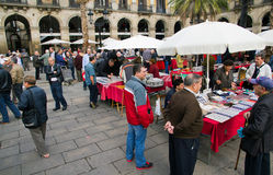 Plaza Real in Barcelona, stamp and coin collection Stock Images