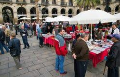 Plaza real em Barcelona, em selo e em coleção de moeda Imagens de Stock