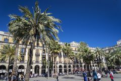Plaza real square in central barcelona old town spain Royalty Free Stock Images