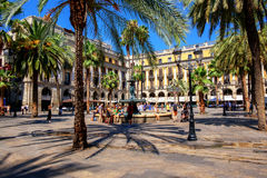Plaza Reial, Barri Gotic, Barcelona, Spain Stock Photography