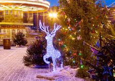 Plaza Roja de la decoración de la Navidad en Moscú Fotos de archivo libres de regalías