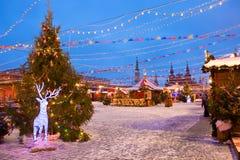 Plaza Roja de la decoración de la Navidad en Moscú Foto de archivo libre de regalías