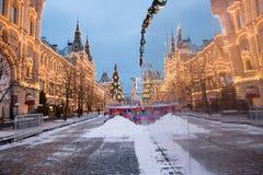Plaza Roja de la decoración de la Navidad en Moscú Foto de archivo