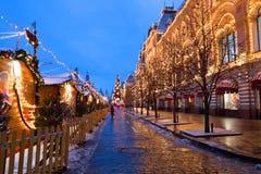 Plaza Roja de la decoración de la Navidad en Moscú Imagen de archivo