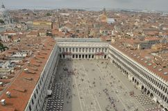 Plaza of Saint Mark. Lots of people in the Plaza of Saint Mark, seen from the tower of Saint Mark, Venice, Italy royalty free stock photo