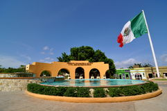 Plaza San Jose Del Cabo Mexico. Mexican flag next to fountain and monument honoring the founders of Baja California Sur stock photos