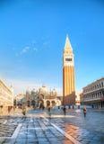 Plaza San Marco encendido en Venecia Imagenes de archivo