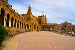 Plaza in Seville. Historical plaza with building in Seville, Spain Royalty Free Stock Image
