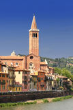 Plaza Signoria de la fachada en Verona, Italia imagenes de archivo