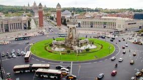 Plaza Spain in Barcelona Vehicles Traffic Scenics Time Lapse. Vehicles in the Plaza Spain in Fira de Barcelona stock video