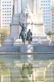 Plaza of Spain in Madrid. A view of Spain square in Madrid, with the monument to Cervantes (Don Quijote and Sancho Panza Royalty Free Stock Photography