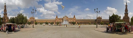 Plaza Spain Pano Royalty Free Stock Photography