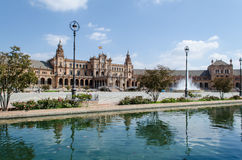 Plaza of Spain, Seville,  Spain. Spain square in Seville, Andalusia Spain. View of the central entrance Royalty Free Stock Photos