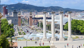 Plaza of Spain and Venetian Towers. Placa De Espanya,Plaza de Espana in Barcelona, Montjuic columns and fountain, Spain Stock Photos