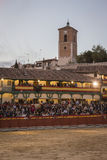 Plaza square Mayor of Chinchon adapted as a bullring, Spain Stock Image