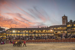 Plaza square Mayor of Chinchon adapted as a bullring,Spain Stock Photography