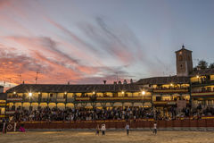 Plaza square Mayor of Chinchon adapted as a bullring, Spain Stock Photo