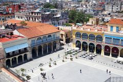Plaza storica Vieja a Avana, Cuba fotografie stock