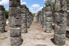 Plaza of a Thousand Columns, Chichen Itza. Plaza of a Thousand Columns, believed to have been used for civic as well as religious purposes, is a part of the Maya Royalty Free Stock Image
