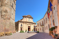 Plaza in town of Roddi, northern Italy. Stock Photo