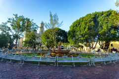 Plaza in Valladolid, Mexico. Francisco Canton Plaza in the center of Valladolid, Mexico with the cathedral in the background Stock Photo