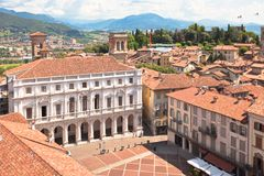 Plaza Vecchia, Bérgamo, Italia Foto de archivo libre de regalías