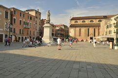 Plaza in Venice. Plaza of Saint Stefano, where is located the church of Saint Stephen, Venice, Italy royalty free stock photos