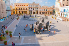 Plaza Vieja em Havana velho, Cuba Fotos de Stock Royalty Free