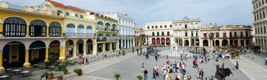 Plaza Vieja with its many recently restored colonial buildings Royalty Free Stock Photos