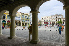 Plaza Vieja with its many recently restored colonial buildings Royalty Free Stock Images