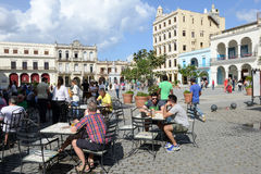 Plaza Vieja with its many recently restored colonial buildings Stock Photos