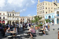 Plaza Vieja with its many recently restored colonial buildings Royalty Free Stock Photography