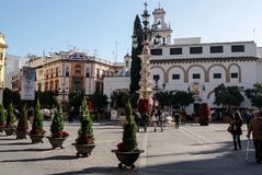Plaza Virgen de los Reyes in Seville at Christmas royalty free stock image