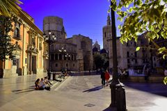 Spain,Valencia,plaza virgen,Basilica, Cathedral stock image