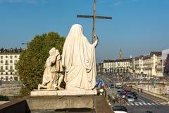 Plaza Vittorio de la iglesia de Gran Madre, Turín Imagenes de archivo
