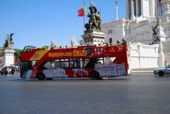 Plaza Vittorio Emanuele II - Rome turistic bus Royalty Free Stock Image