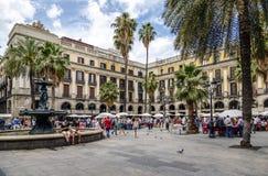 Plaza vraie à Barcelone Espagne, timbre et collection de pièce de monnaie Photographie stock